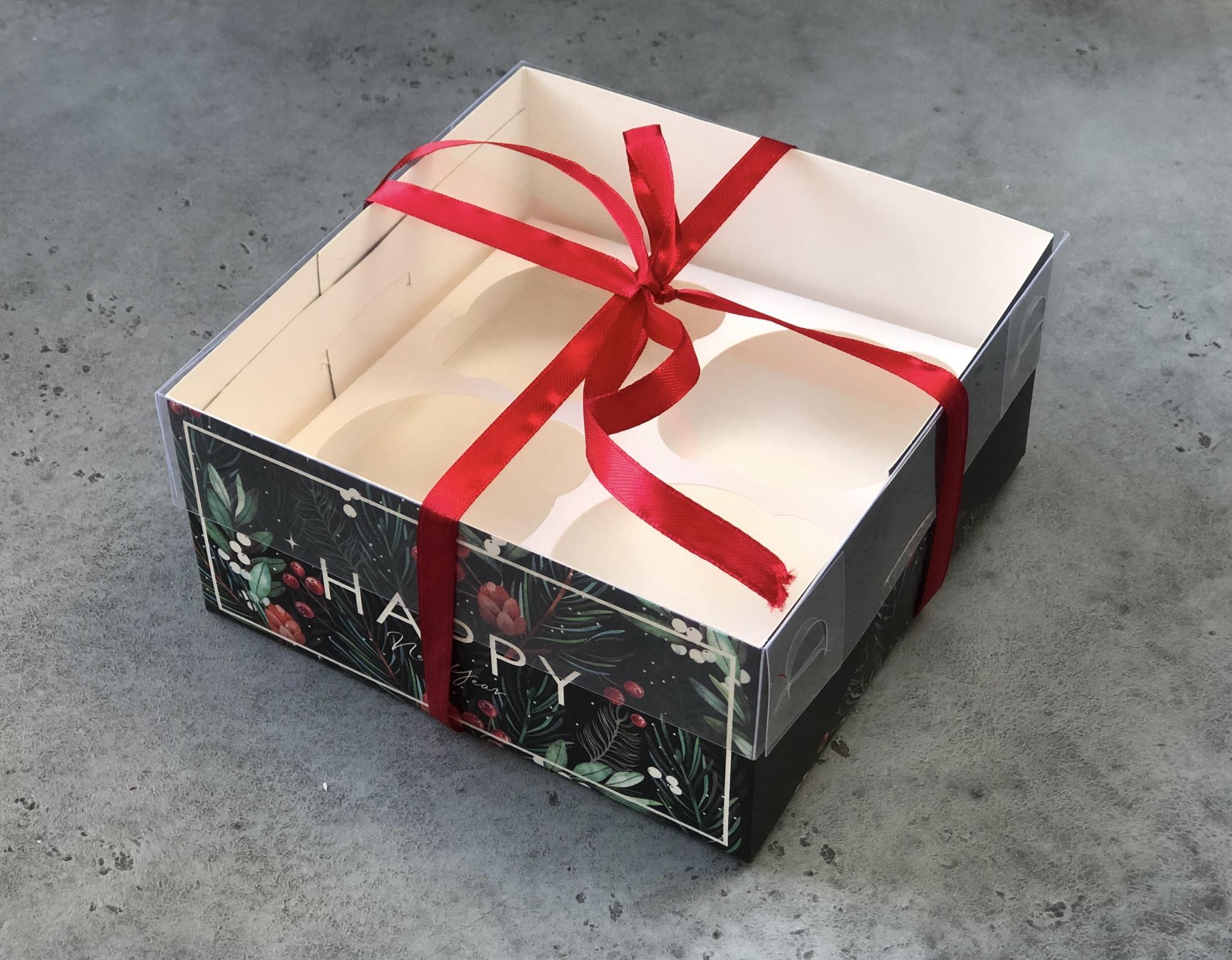 Коробка новогодняя на 4 капкейка « Happy», 16х16х7,5 см