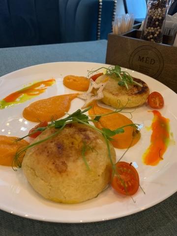 Зразы из картофеля с морковью и луком, с кремом из острой тыквы