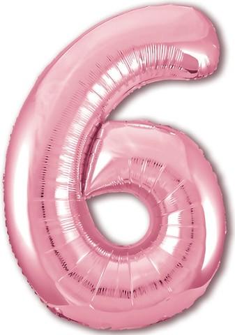 Р Цифра, 6, Slim, Розовый, 40''/102 см, в упаковке 1 шт.