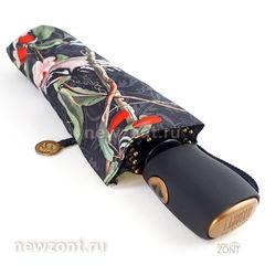 Приплюснутый черный зонт автомат Lamberti «Птицы в цветах»