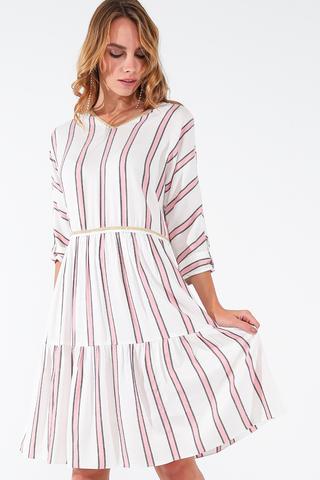 Фото свободное летнее белое платье в полоску с рукавом 3/4 - Платье З457-138 (1)