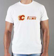 Футболка с принтом НХЛ Калгари Флэймз (NHL Calgary Flames) белая 008