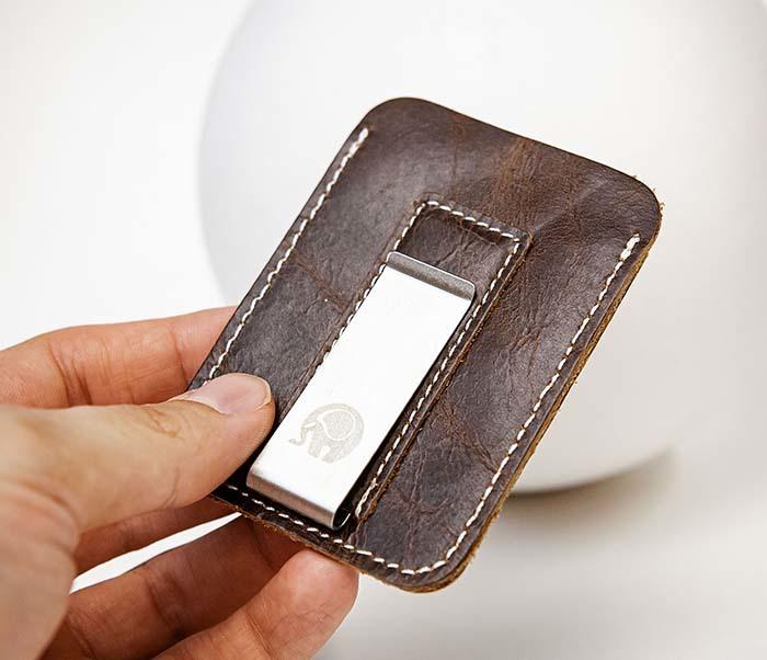 WL300-2 Мини зажим для купюр из натуральной кожи фото 04
