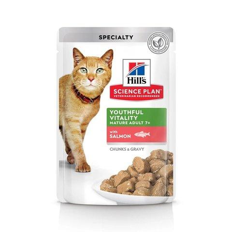Влажный корм Hill's Science Plan Youthful Vitality для пожилых кошек (7+) для поддержания активности и жизненной энергии, пауч с лососем