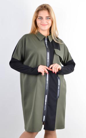 Сабіна. Жіноча сорочка на блискавці великих розмірів. Оливка.
