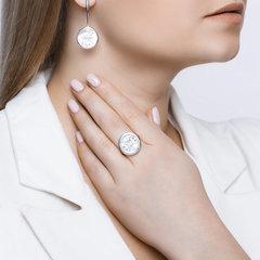 94012049 - Кольцо с перламутром и сканью из  серебра