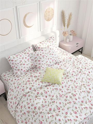 Простынь  -Розовые бутоны- 240х215 см евро