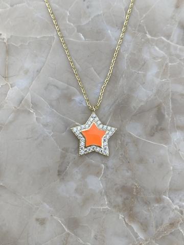 Колье Стелла из серебра, оранжевая эмаль