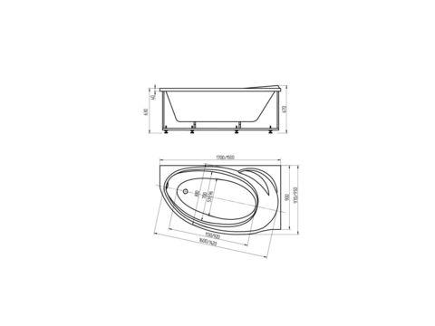 Ванна акриловая  Aquatek Бетта 160х97см. на каркасе и сливом-переливом. левая или правая схема
