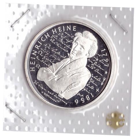10 марок 1997 год (D) 200 лет со дня рождения Генриха Гейне, Германия. PROOF в родной запайке