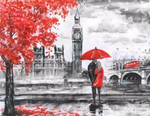 Алмазная Мозаика 40x50 Черно-красная романтика