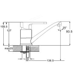 Фото размеры смесителя для умывальника Zegor PAN4-B