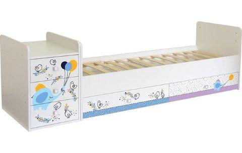 Кроватка детская Polini kids Simple 1100 Слоник на шаре, белый
