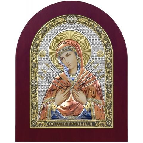 Серебряная икона Богоматерь Семистрельная, цветной лак