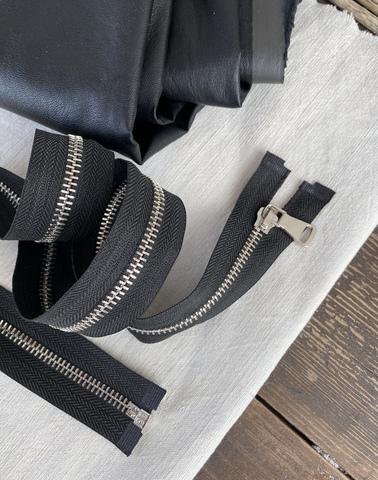 Молния металлическая никель №5, 75см, разъемная, черный