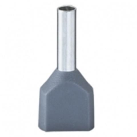 DKC / ДКС 2ART5032GRXL Наконечник-гильза штыревой втулочный, с изолированным фланцем, для сечения провода 0,75мм2, длина контактной части 14мм,для двух проводов, серый (НШВИ2)