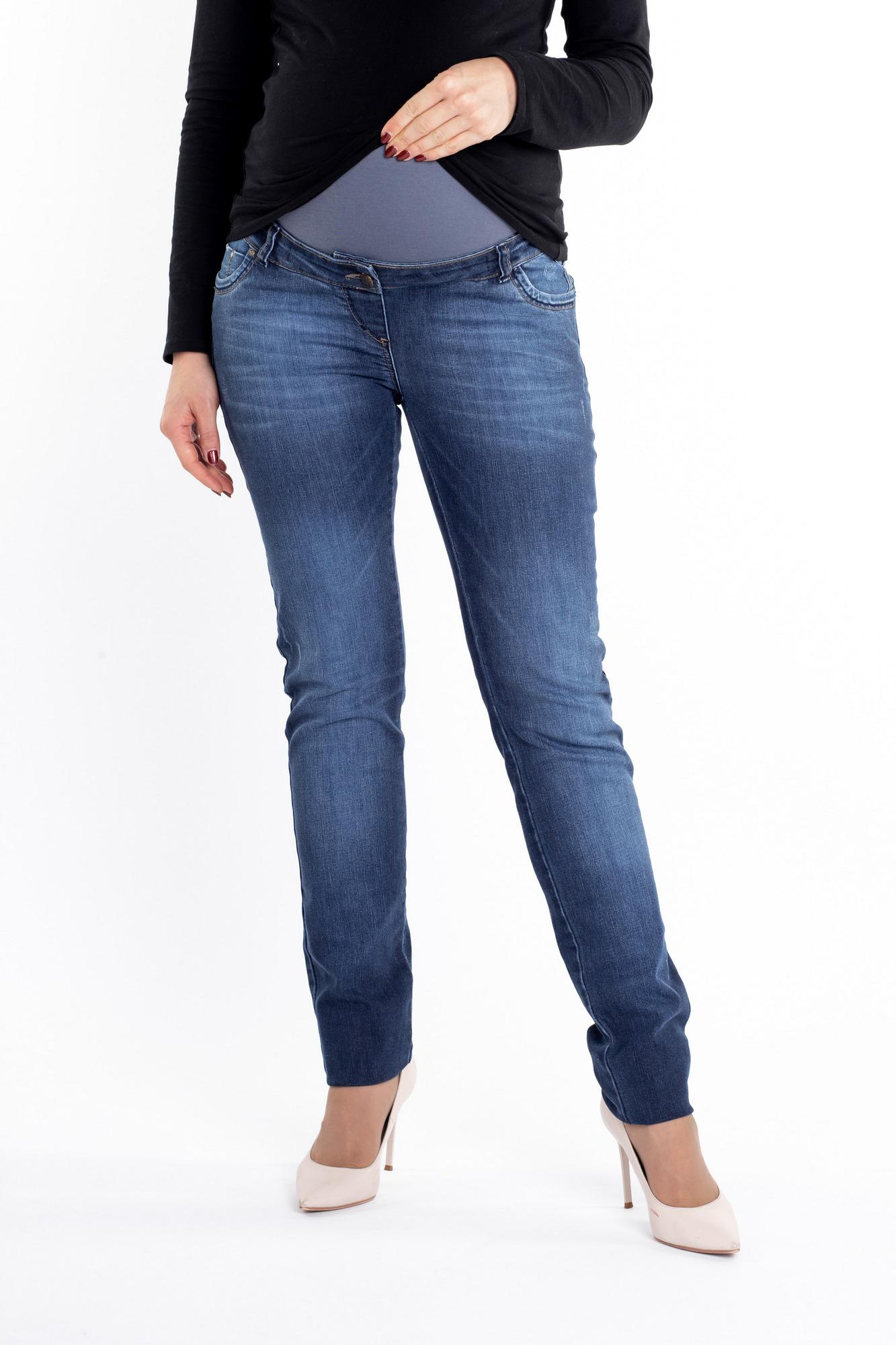 Фото джинсы для беременных MAMA`S FANTASY, зауженные, средняя посадка, высокая вставка от магазина СкороМама, синий, размеры.