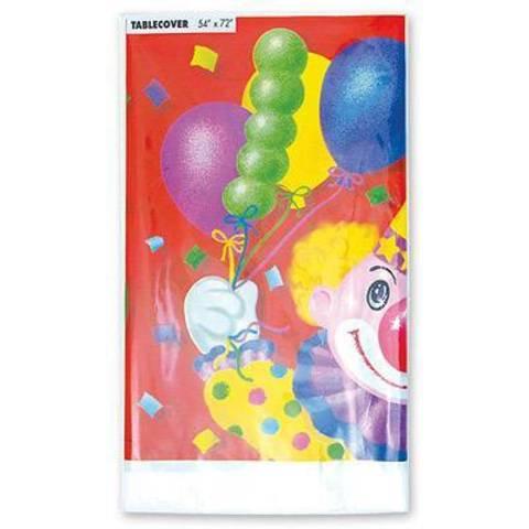 Скатерть п/э Клоун с шарами 140х180см/G