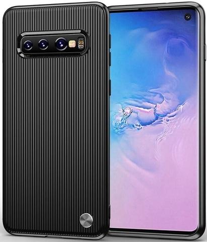 Чехол для Samsung Galaxy S 10 цвет Black (черный), серия Bevel от Caseport