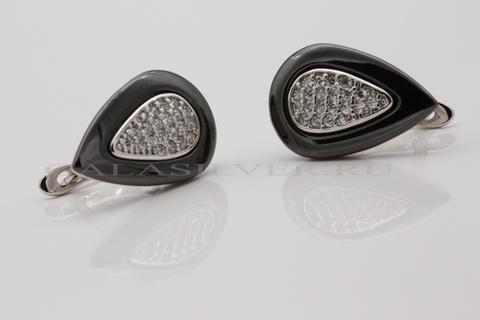 Серьги с керамикой и фианитом из серебра 925
