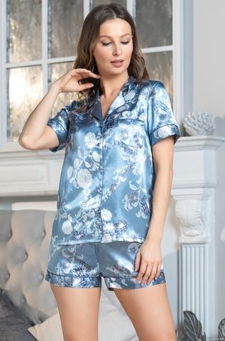 Комплект женский с шортами  Mia-Amore PARIS PIONS ПАРИЖ ПИОН 8995 голубой