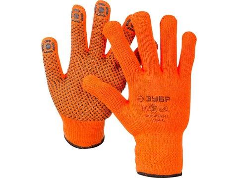 ЗУБР АНГАРА, размер L-XL, перчатки утепленные с начёсом, акриловые, с ПВХ покрытием (точка).