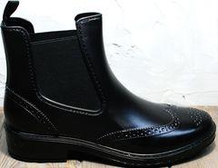 Резиновые сапоги модельные женские W9072Black.