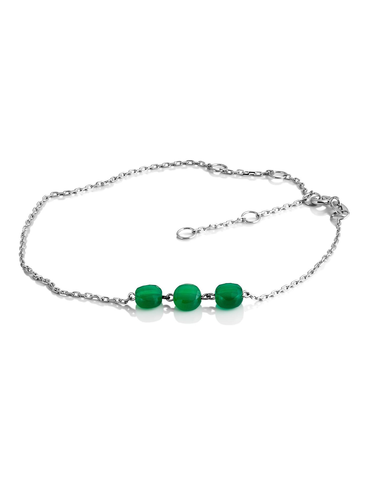 Серебряный браслет на ногу с зеленым агатом в подарочной коробке
