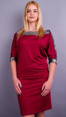 Клео. Нарядное платье больших размеров. Бордо.