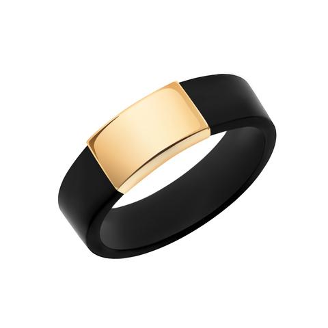 10667к -Каучуковое кольцо со вставкой из золота 585 пробы