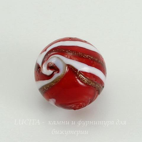 Бусина Лэмпворк шарик красно-белый 15-16 мм ()