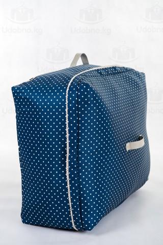 Мягкий большой кофр для объемных вещей, XL, 63*48*28 см (темно-синий в горошек)