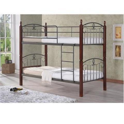 Двухъярусная кровать 203-DD металлическая с деревянными ножками 90х200 темный орех
