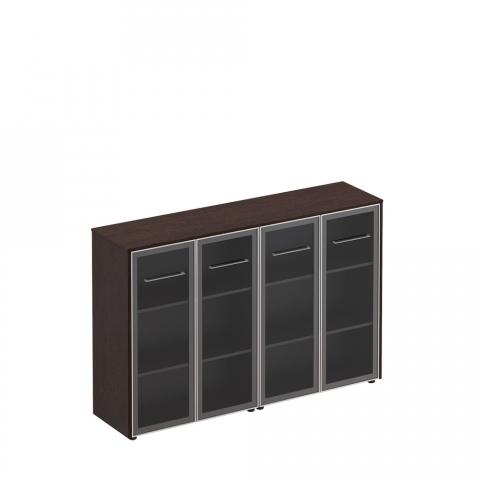 Шкаф для документов со стеклянными дверьми (стенка из 2 шкафов) (184x46x120)