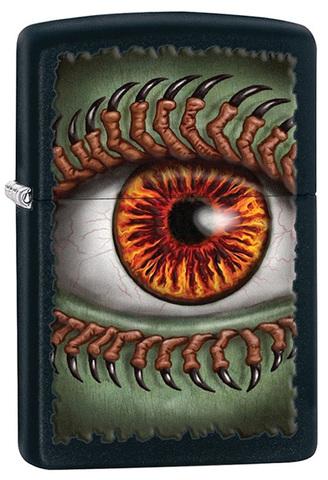 Зажигалка Zippo Monster Eye, латунь с покрытием Black Matte, чёрная, 36х12x56 мм