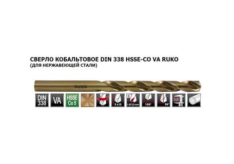 Сверло по металлу ц/x 1,0x34/12мм DIN338 h8 5xD HSSE-Co5 VA 130° Ruko 215010 (В)