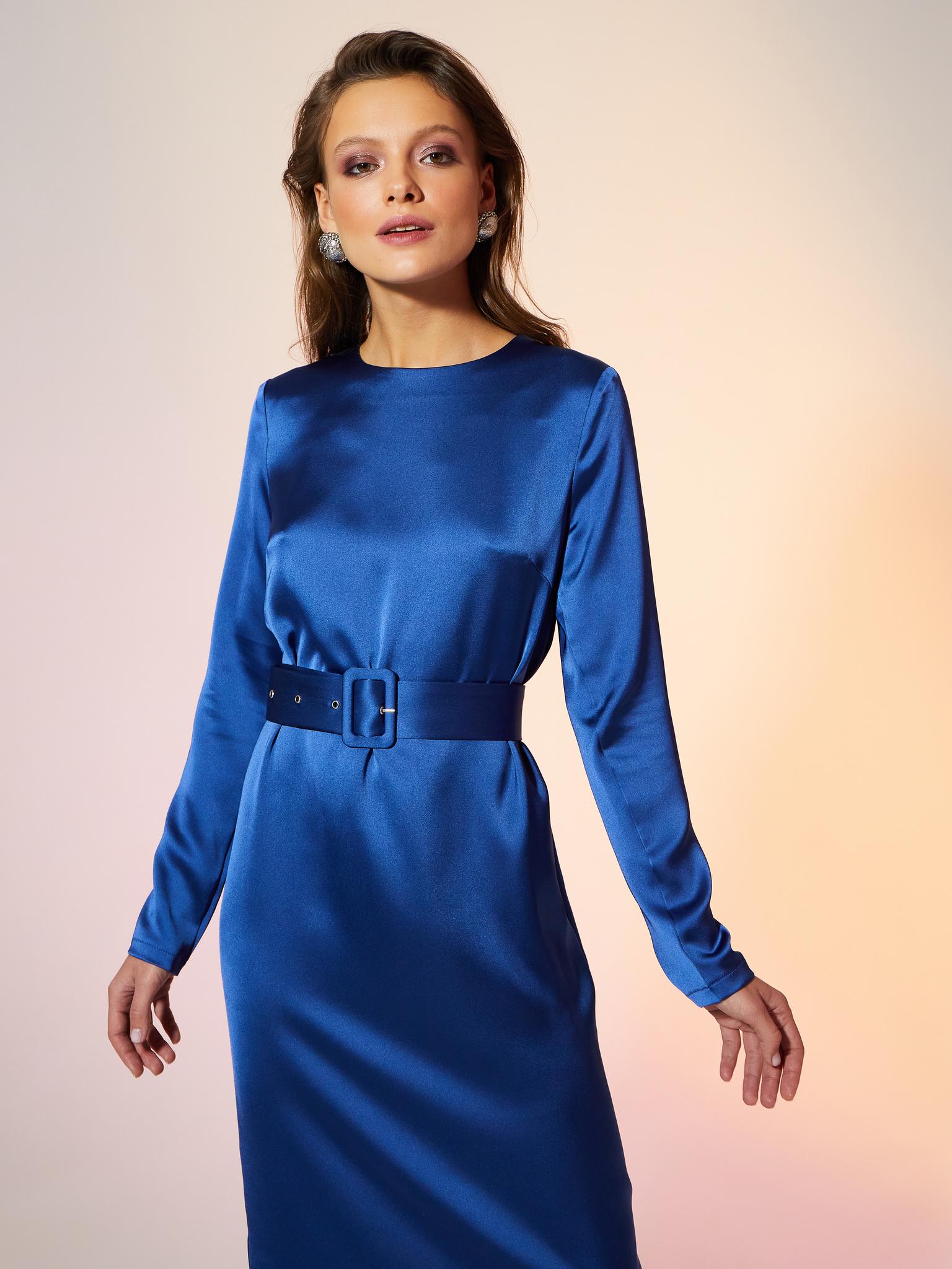 Платье миди с поясом (синий)