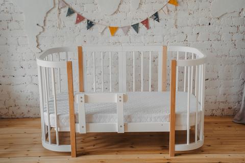 Кроватка Dreams Смарт - Белая - Стойки Натурального цвета