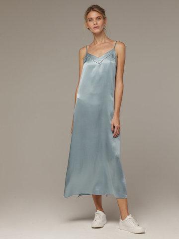 Женское светло-голубое платье из 100% шелка - фото 1