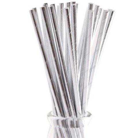 Трубочка д/кокт фольгиров серебр 12шт/G