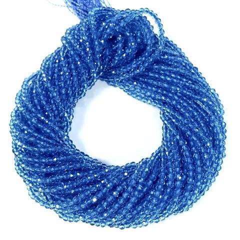 Бусины шпинель (имитация) граненая 2 мм цвет голубой цена за 185 бусин (~37 см)