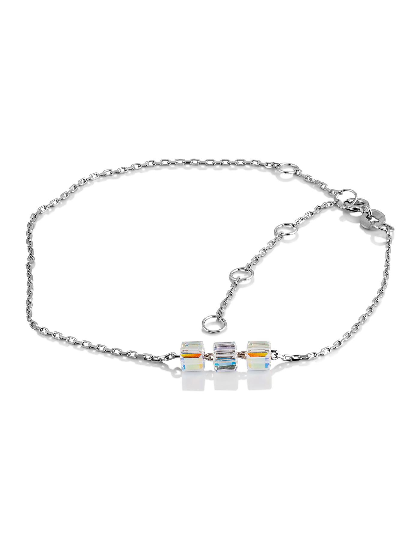 Серебряный браслет на ногу с кристаллами Swarovski в подарочной коробке