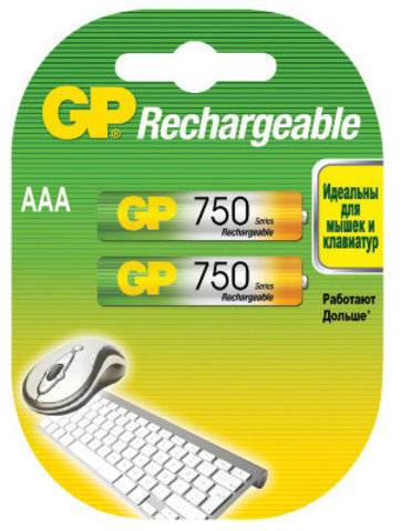 Аккумуляторы GP 75ААAHC-U2 Ni-MH ААA, R03, 1, 2V, 750mAh