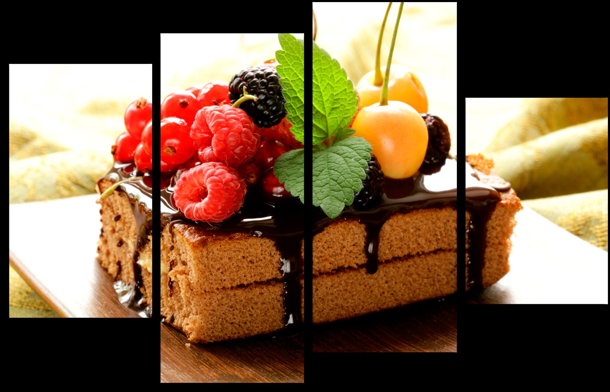 """Еда Модульная картина """"Шоколадное пирожное"""" М230.png"""