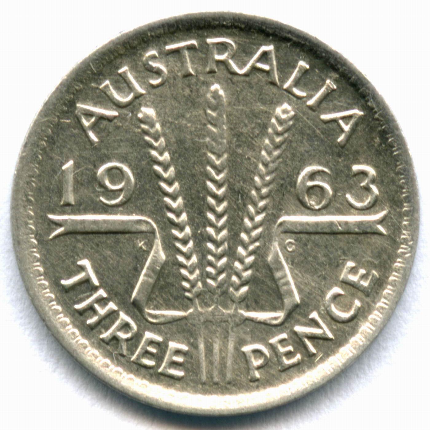 3 пенса 1963. Австралия. VF. Серебро