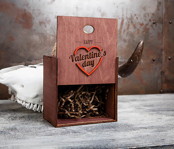 BOX205-3 Большая подарочная коробка «День святого Валентина» с ручками (17*17*10 см) фото 03