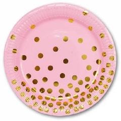 Тарелка бум Горошек золотой 17 см, 6 шт.