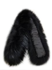 Опушка меховая на капюшон из натурального меха енот 80 см. Чисто черная арт.165