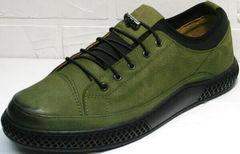 Модные спортивные туфли сникерсы кожа Luciano Bellini C2801 Nb Khaki.