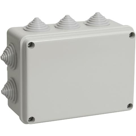 Распаячная коробка ОП 150х110х70мм, крышка, IP55, 10 гермовводов, инд. штрихкод, TDM
